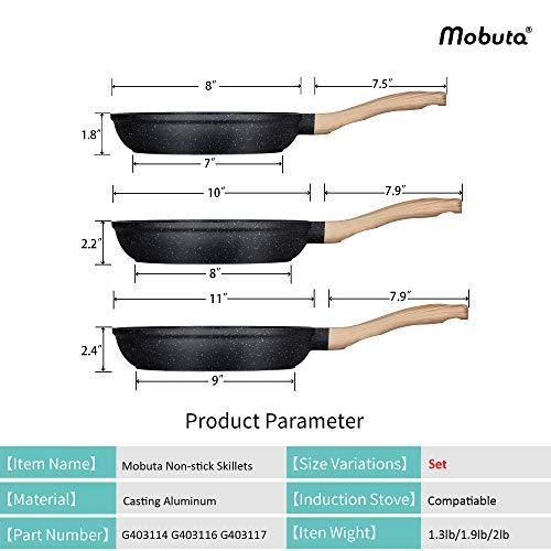 Product Image 2: MOBUTA 3-PCS Nonstick Frying Pan Set Induction Skillet Omelet Pan Egg Pan, PFOA-FREE with Granite Coating, 8+10+11 Inch