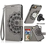 CASEOWL iPhone 8 Plus Case,iPhone 7 Plus Flip Embossed Leather Wallet Cases with Protective Detachable Slim Case Fit Car Mount, Mandala Flower Design with Card Slots, Strap for iPhone 7/8 Plus[Gray]