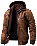 FLAVOR Men Brown Leather Motorcycle Jacket with Removable Hood (XX-Large (US Standard), Brown)