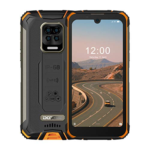 Rugged Smartphone, DOOGEE S59 Pro Android 10, 4GB+ 128GB, 16MP + 8MP Four Cameras, 10050mAh Battery, 5.71 inches HD+, IP68 Waterproof Mobile Phone, 4G Dual SIM, NFC/GPS, US Version - Fire Orange