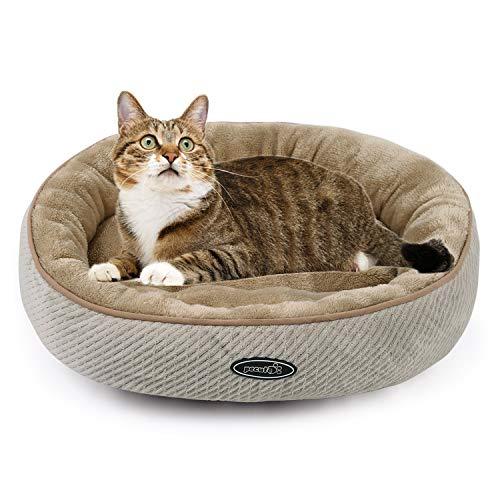 Pecute - Letto per gatti e cuccioli ovale, 50 cm, lavabile in lavatrice, morbido e comodo (beige)