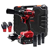 Toolman Rechargeable Lithium-ion cordless Power Impact Wrench kit 1/2' 21V with Drill Set Led Light Free Case & Work Gloves (1 Battery) ZTP011