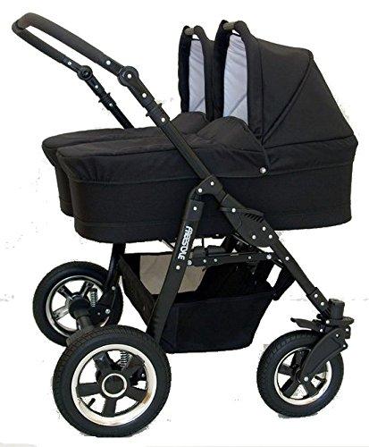 BBTwin - Passeggino 3 in1 per bambini, gemellare,con 2ovetti + 2sedie + 2seggiolini gruppo 0+ accessori Nero