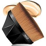MSQ Foundation Pinsel Make-up Pinsel Kabuki Flat Top Gesicht Pinsel Groove Design Blush Pinsel zum Mischen von Flüssigkeit, Creme, Concealer Premium (Schwarz)