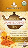 Nature's Guru Organic Whole Leaf Black Tea Turmeric Ginger 25 Count Individual Tea Bags