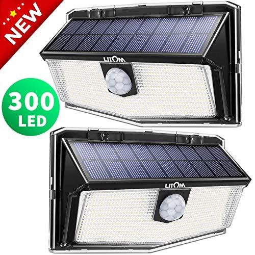300 LED Luci Solari Esterno,Nuovo design nel 2020Luce Solare con Sensore di Movimento, 270Illuminazione wireless Lampada Solare per Giardino, Parete Wireless Risparmio Energetico