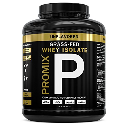 Grass Fed USA Whey Protein Isolate Powder I Native & Cold Processed I PROMIX 100% All Natural Undenatured I Best Optimum Standard Fitness Nutrition Shakes Energy Smoothie Bowls Unflavored 5lb Bulk