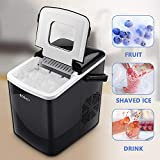 BOSALY Ice Maker Machine, 26lbs 24h Ice Cube Maker, Electric Ice Maker Portable with Ice Scoop and Basket, Perfect for Home/Kitchen/Office/Bar, Black