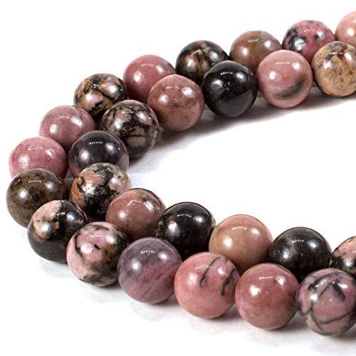 RVG 8mm Natural Rhodonite Beads Round Gemstone Loose Stone...