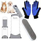 SunL Pet Hair Remover & Pet Grooming Gloves Kit, Perfect for Dog & Cat with Long & Short Fur, Efficient Double-Sided Brush with Self-Cleaning Base for Clothing, Furniture, Carpet, Car Seat Blue