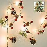 Xnuoyo Christmas LED Light String Pine Cone Berry Garland Decoración 2m Long Light String con 20 cuentas de lámpara Árbol de Navidad Fiesta