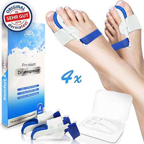DERMATEST: SEHR GUT - PURAVA® [4x] Hallux Valgus Zehenspreizer - Ideal für Tag & Nacht - Inklusive hygienischer Transportbox - Optimaler Tragekomfort dank innovativem Soft Gel Silikon - BPA frei