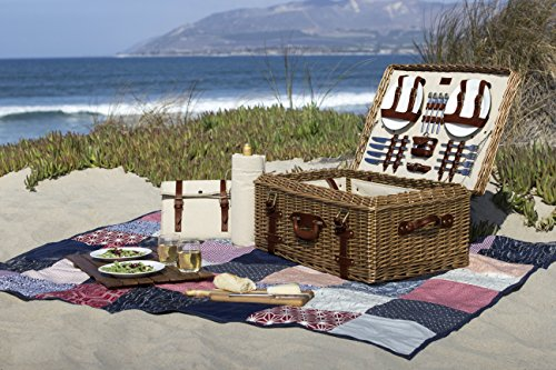 Picnic Time Charleston Premium Picnic Basket with Deluxe Service for Four