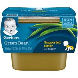 Gerber 1st Foods, Green Bean Pureed Baby Food, 2 Ounce Tubs, 2 Count (Pack of 8)