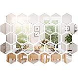 32 Pieces Removable Acrylic Mirror Setting Wall Sticker Decal for Home Living Room Bedroom Decor (Hexagon, 32 Pieces)