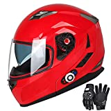 Motorcycle Bluetooth Helmets,FreedConn Flip up Dual Visors Full Face Helmet,Built-in Integrated Intercom Communication System(Range 500M,2-3Riders Pairing,FM radio,Waterproof,L,Red)