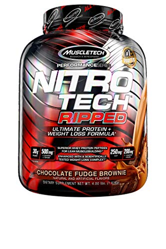 Protein Powder for Weight Loss | MuscleTech Nitro-Tech Ripped | Lean Whey Protein Powder + Weight Loss Formula | Lose Weight | Weight Loss Protein Powder for Women & Men | Chocolate, 4 lbs (42 Serv) 1