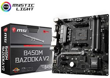 MSI Arsenal Gaming AMD Ryzen 1st and 2ND Gen AM4 M.2 USB 3 DDR4 DVI HDMI Micro-ATX Motherboard (B450M Bazooka V2)