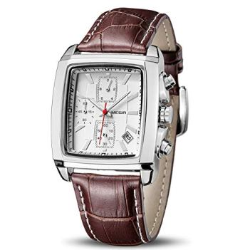 MEGIR Men's Business Analog Fashion Casual Chronograph Rectangular Luminous Quartz Wrist Watch with Brown Leather Strap for Work & Sports (2028 White)
