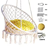 Nooksta Hammock Chair Macrame Swing - Large Hanging Chair with Included Cushion & Sturdy Hanging Kit. 100% Cotton Rope Swing. Relaxing Swinging Chair for Indoor, Outdoor Patio or Yard Accent (Yellow)