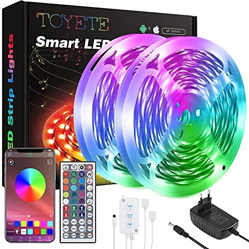 Striscia LED 20 Metri,Toyete Luci LED Colorate RGB SMD 5050 12V Strisce LED con APP Bluetooth e 44 Tasti Telecomando,Funzione Musicale & Luminosit Regolabile Nastri Led Per Cucina, Bar, Feste