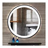 "Beauty4U 19.7"" Backlit Mirror, LED Bathroom Mirror Wall-Mounted, Black Round Vanity Mirror, Shatterproof for Make-up Wall Décor"