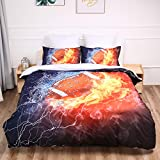 American Football Bedding Set Rugby Duvet Cover American Football Duvet Cover 2 Piece Sports Bedding Dark Blue Orange Duvet Cover with 1 Pillowcase Twin Size 68' x86'(No Comforter)
