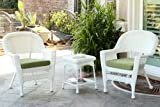 Jeco 3 Piece Wicker End Table Set with with Green Chair Cushion, White