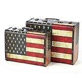 Maleta retro Antiguo almacenaje de la ropa caja cofre del tesoro Maleta la caja de juguetes maleta del equipaje del viaje del tronco Manta Box Set de 2 maleta de madera decorativa (Tamaño: Grande + pe