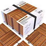 Acacia Hardwood Interlocking Patio Deck Tiles, 12' × 12' (Pack of 10), Easy to Install Floor Tile for Both Indoor & Outdoor Use - Golden Teak