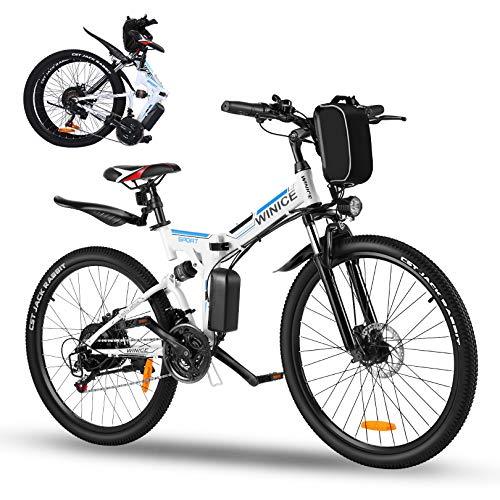 Vivi Vélo Électrique Pliable, 26' VTT Electrique Homme Femme, 350W Vélo Électrique en Montagne pour Adulte,Batterie Amovible 36V / 8AH,Professionnel 21 Vitesses E-Bike,Jusqu'à 32km/h(Blanc)
