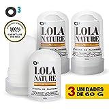 O³ Piedra de Alumbre Desodorante - 3 Unidades de 60g -100% Natural - sin Aluminio - sin Parabenos -...