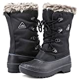 ALEADER Waterproof Snow Boots for Women, Warm Faux Fur Winter Boots Shoes Black 8 B(M) US