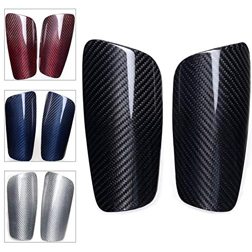 VARWANEO Carbon Fibre Soccer Shin Guards,with Large Cushioned,for Youth Adult,Men,Slim,Superlight,Genuine Carbon,Baseball,Football,Kickboxing,Thai,MMA,Protection Shocks Injuries (L)