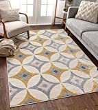 Well Woven Greyson Scanadnavian Retro Diamond Geometric Grey & Gold Area Rug 5x7 (5'3' x 7'3')
