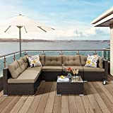 YITAHOME 7 Pieces Patio Furniture Set,All-Weather Rattan Patio Conversation Set,Outdoor Sectional Sofa PE Rattan Wicker Outside Couch with Table and Cushions for Porch Lawn Garden Backyard