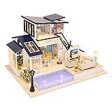 GFDFD Casa de muñecas de Juguete de Madera Casa de muñecas en Miniatura con Muebles Casa de Madera Juguetes para niños Modelo de Juguete de construcción