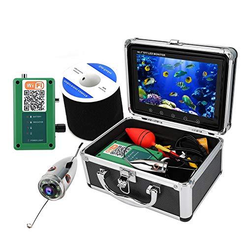 Monitor LCD portatile da 10.1 pollici Fish Finder HD 50M Telecamera da pesca 1000TVL, Telecamera subacquea IP68 Videocamera WiFi 164ft, Telecamera portatile per pesca subacquea.(Unione Europea)