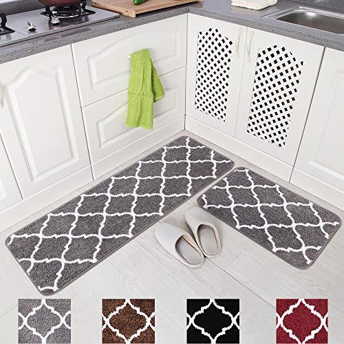 Carvapet 2 Pieces Kitchen Rugs and Mats Set Absorbent Soft Microfiber Bath Rug Moroccan Trellis Non-Slip Kitchen...