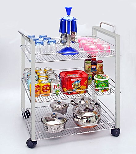 Sterling Kitchen Trolley with Wheels for Storage, Stainless Steel Basket for Moduler Kitchen with Locks for Kids, 3 Tier