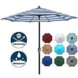 Blissun 9' Outdoor Aluminum Patio Umbrella, Striped Patio Umbrella, Market Striped Umbrella with Push Button Tilt and Crank (Blue and White)