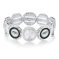 Sophisticated Stretch Logo Bracelet Measures 7-Inches in Length Decorated with Your Favorite NFL Team Colored Logo Glittering Design that Shines from Every Angle Secure Fit Clasp Ensures Care-Free Wear Beautiful Bejeweled Bracelet to Showcase your Te...