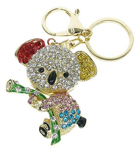 Cooplay Cute Lovely Koala oso Animal Diamond Crystal Rhinestone cristal dorado de llavero con muñeca de chica hermosa accesorios el mejor regalo para las mujeres cartera bolso de mano bolso Llaveros