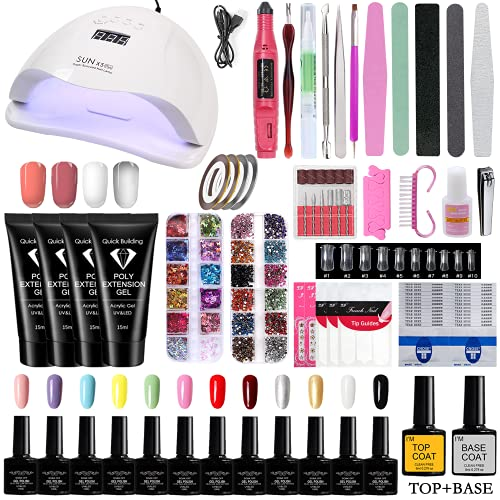 Ziomizi Professional Gel Nail Polish Kit with LED UV Light Therapy Lamp for Beginners Home and Nail Salon Use