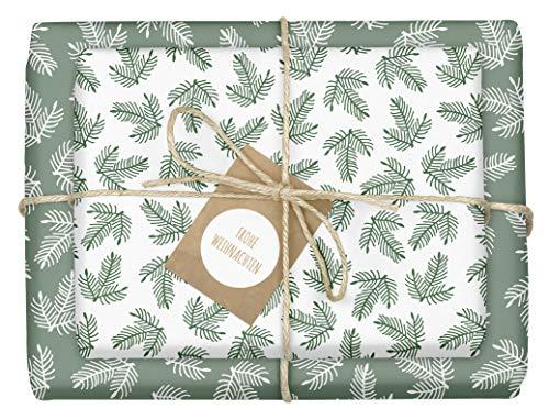 4x Geschenkpapier Weihnachten: grün-weiße Tannenzweige | hochwertige, beidseitig bedruckte Bögen...
