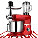 COOKLEE 6-IN-1 Stand Mixer, 8.5 Qt. Multifunctional Electric Kitchen Mixer with 9 Accessories for Most Home Cooks, SM-1507BM, Ruby Red