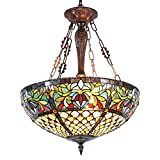 Capulina Tiffany Dining Table Lights, 3-Light Hanging Tiffany Style Lamp, 20 Inch Wide Stained Glass Dining Room Lights, Pendant Lights, Victorian Tiffany Hanging Light