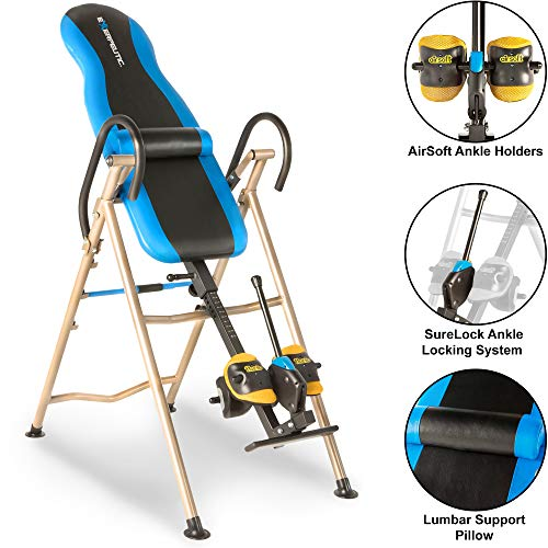 Exerpeutic 225SL Inversion Table with Airsoft No Pinch Ankle Holders, SURELOCK Safety Ratchet System, and Lumbar Support