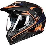 ILM Off Road Motorcycle Dual Sport Helmet Full Face Sun Visor Dirt Bike ATV Motocross Casco DOT Certified (M, Orange)