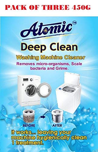 Atomic Washing Machine Cleaning Powder for Drum/Tub cleaning -[Tested By ACPL LONDON]Contain 150G PER PACK X 3 = 450 Gm
